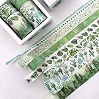 huihuay 8Pcs Green Leaves Cactus Journal Washi Tape Adhesive Tape DIY Scrapbooking Sticker Label Masking Tapes