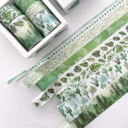 MIKI-Z 8Pcs Green Leaves Cactus Journal Washi Tape Adhesive Tape DIY Scrapbooking Sticker Label Masking Tapes