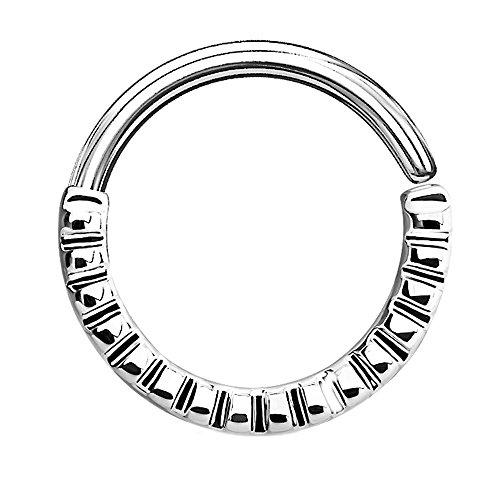 Piercingfaktor Piercing Continuous Tribal Ring geriffelt Ohr Nase Lippe Brust Intim Septum Tragus Helix Hufeisen Horseshoe Silber (Mund-piercing-schmuck)