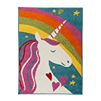 Flair Rugs Play Days Kiddy Unicorn Rainbow Rug, Multi, 80 x 120 Cm