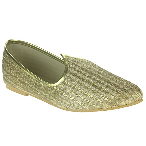 Mens-Gents-Groom-Sequin-Accent-Traditional-Ethnic-Handmade-Wedding-Indian-Pumps-Khussa-Jutti-Mojari-Slip-On-Flat-Shoes-Size
