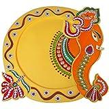 "AsiaCraft Wooden Decorative Ganesha Pooja Thali / Diwali Pooja Thali 12 """