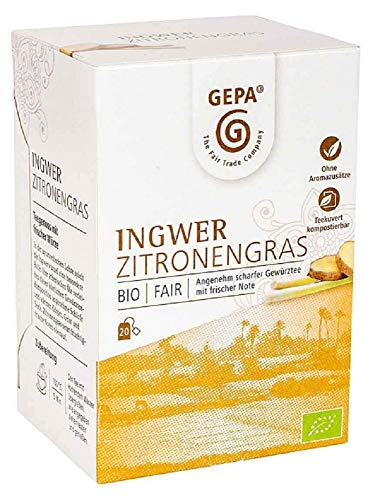 Gepa Bio Ingwer Zitronengras Tee - 100 Teebeutel - 5 Pack ( 20 x 1,5g pro Pack)