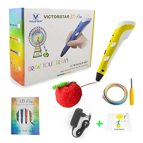 3D Stift mit Papierschablonen und Schraubendreher / mit Militärischen Motor - VICTORSTAR RP100A Gelb für 3D-Zeichnung 3D Doodling / Kompatibel mit ABS PLA Filament + 5 Schablonen + Adapter + Filament + Schraubendreher (Gelb)