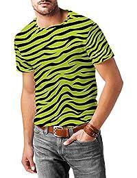 Diseño de cebra color verde para hombre mezcla de algodón T-Shirt