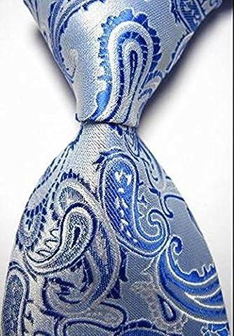 Pisces.goods New Bright Blue Paisley Jacquard Woven Men's Tie Necktie by Pisces.goods