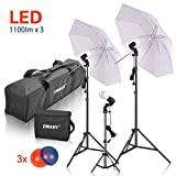 #9: Emart Photography Lighting Studio Photo Light Video Portrait Continuous Umbrella Daylight Kit with 3 x 15W LED Lamp and Color Gel Filters