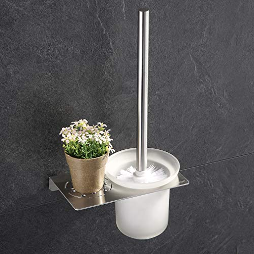 ubeegol Edelstahl WC-Bürste mit Halterung WC-Bürstenhalter WC-Garnitur Toilettenbürste aus satiniertem Glas und rostfrei zur Wandmontage Toilettenbürstenhalter ideal für Bad und Gäste-WC