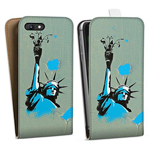 Apple iPhone X Silikon Hülle Case Schutzhülle New York Freiheitsstatue Amerika Downflip Tasche weiß