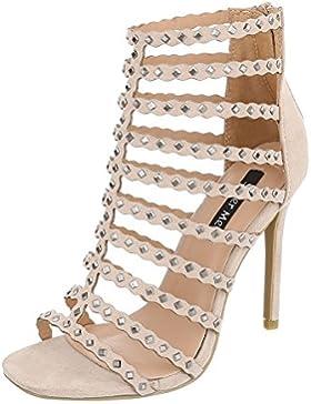 High Heel Sandaletten Damenschuhe Plateau Pfennig-/Stilettoabsatz High Heels Reißverschluss Ital-Design Sandalen...