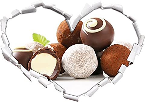 Pleasurable chocolate truffle balls heart shape in the 3D look, wall or door sticker Format: 62x43.5cm, Wall Stickers, Wall Decals, Wall decoration