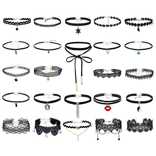 Tpocean 24pcs Choker Halskette Set Lolita Blumen spitze Tätowierung Samt Kragen Choker Gold Kette Halskette Schmuck für Frauen Damen (Für Verkauf Kostüm 3 Alien)