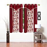 Blexos Saawaan Polyester Kolaveri 4x5 ft Window Curtains (Maroon) -Set of 2