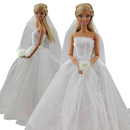 Image of Dragonpad Princess Evening Party Clothes Wears Dress Outfit Set for Barbie Doll with Veil Xmas Gift