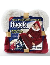Wansheng Huggle Hoodie, Ultra Plush Blanket Hoodie Winter Soft Warm Reversible Hooded Robe TV Blanket for Indoor & Outdoor, Men Women Winter Warm Hoodiescoats,Redwine