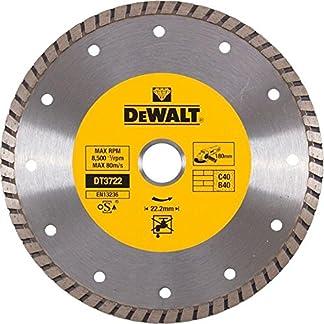 DEWALT DT3722-QZ – Disco de diamante turbo para corte en seco 180×22.2mm, para mármol, granito y piedra natural