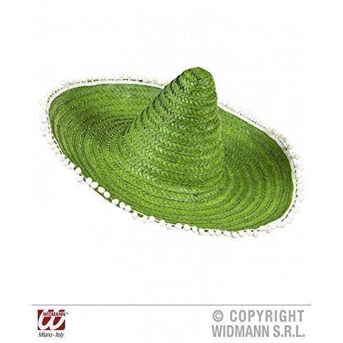 Kostüm Texaner - Moderner Mexikanerhut / Sombrero in grün mit witzigen Bommeln am Rand