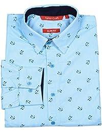 Tailor Craft Men's Formal Solid Color Slim Fit 100% Fine Cotton Shirt, Office Wear Shirt