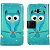 SKS Distribution ® Caja del teléfono de cuero azul del búho / cubierta de la carpeta con el titular de la tarjeta para HTC ONE M7