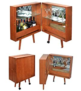 ts ideen hausbar cocktailbar barschrank braun barkommode im stil der 50er 60er jahre. Black Bedroom Furniture Sets. Home Design Ideas