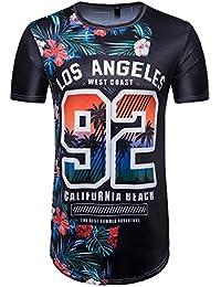 Camisetas, ❤️⚽️Ba Zha Hei Número 69 de Verano Casual Camisas De Hombre de Moda Ajustado Camisetas de Hombres 3D Camiseta…