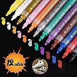 Vernice acrilica penne, sta vernice permanente, punta punta media 12colori atossici per pittura su roccia, progetti fai-da-te, ceramica, vetro, tela, tazza, metallo, legno e uovo di Pasqua