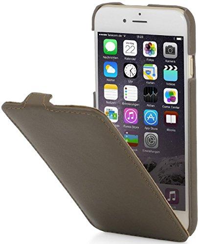 StilGut Lederhülle kompatibel mit iPhone 6 Plus vertikales Flip-Case, sepiabraun Nappa - Vertikal Case Iphone 6 Leder