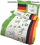 Dobnig 649182 Kinder Bettwäsche Fußball 135x200 Feinbiber Ökotex 100