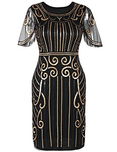 PrettyGuide Damen 20er Jahre Kleid Kurzarm Pailletten Cocktail Charleston Kleid S Gold