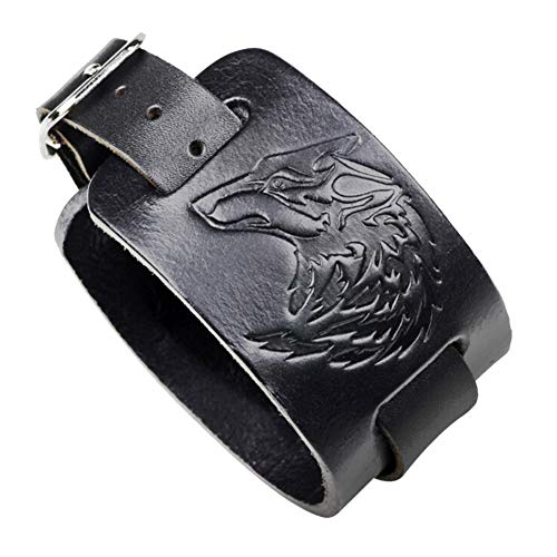 Totem Drucken (Saicowordist Punkrock-Stil Wolf-Totem Drucken Leder Armband Trend Herren Hand Schmuck Unisex Paar Armband(schwarz))