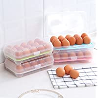 Mytobang 1 PCS Huevos Llevar Caso Caja para huevos con huevo Caja de almacenamiento portátil para refrigerador de cocina Caja de acabado para almacenamiento multifuncional Contenedor para picnic Portatil para almacenamiento 15 huevos,verde