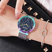 NICEWATCH Reloj Mujer Lleno de Estrellas, Rosa, Dorado, Borla, Tendencia de la Moda, Reloj Lady Quartz.