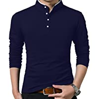 KUYIGO T Shirt Uomo Slim Fit Casual Tinta Unita Polo a Manica Lunga Maglietta da Golf di Base