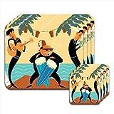 Musica divertente giocare in spiaggia, in vacanza &-Set di 4 tovagliette e sottobicchieri