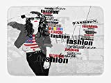 rwwrewre Girls Bath Mat A Modern Teen Girl with USA Flag T-Shirt Fashion Obsession Beauty in The Street 23.6 W X 15.7 W inches Black White Red Unique Doormat