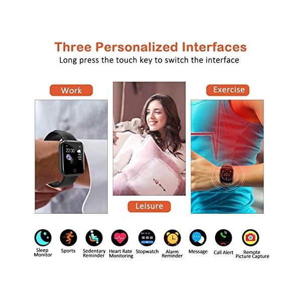 Smartwatch Reloj Resistente Hombre Mujer Niños Monitor Pulso Cardiaco Pulsera Actividad Reloj Inteligente Cardio Podómetro Bluetooth Reloj Deportivo Rastreadores Cronómetro para Android iOS(Negro) 2