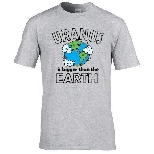 Naughtees kleidung - Uranus is größer als the Earth voll Bedrucktes T-shirt  Sportgrau