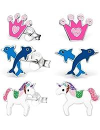 GH * Kids 3pares pendientes Unicornio + corona + Delfín 925Plata Auténtica niña niños pendientes xm205