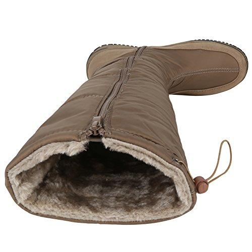 Damen Winterstiefel Warm Gefütterte Stiefel Strass Winter Boots Schnee Schuhe Winterschuhe Profilsohle Snowboots Flandell Khaki Schwarz