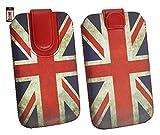 Emartbuy® Siswoo R8 Monster 5.5 Inch Smartphone Union Jack Print Premium PU Leather Tasche Hülle Schutzhülle Case Cover (Größe 4XL) Mit Ausziehhilfe