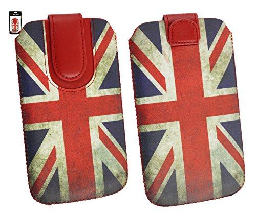 Emartbuy® Union Jack Print Premium PU Leather Tasche Hülle Schutzhülle Case Cover (Größe 4XL) Mit Ausziehhilfe Geeignet für Oppo N1 Mini