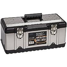 Caja de herramientas y bandeja para herramientas, acero inoxidable, tamaño XL, resistente a los impactos, marco de plástico, metal, dimensiones de 58,2x 29,8x 25,5cm