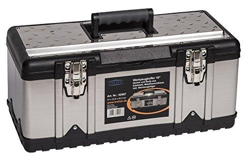 XL Werkzeugkoffer PROFI 18 aus Edelstahl mit robustem Kunststoff-Rahmen und herausnehmbaren Werkzeugträger. Mit Metallverschlüssen, abschließbar. Maße: 47 x 23,8 x 20,3 cm