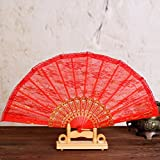 Chinese Silk Bamboo Flower Folding Pocket Hand Fan Wedding Party Gift - B07H4H6V4P
