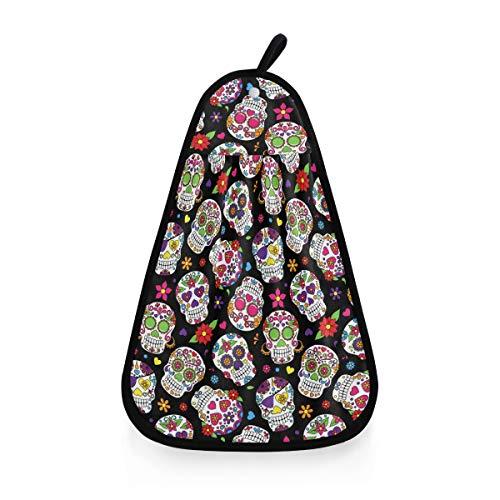 ALARGE Toalla de Secado a Mano con diseño de Calavera Mexicana y Flores, Secado rápido, Toalla para la Cara, paño de Limpieza para el hogar, Cocina, baño