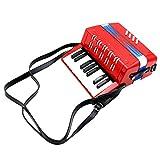 Tbest Kinder Akkordeon 17-Key 8 Bass Spielzeug Akkordeon Mini Kleine Akkordeon pädagogische Musikinstrument Rhythmus Spielzeug für die frühe Kindheit Unterricht Musikspielzeug(Rot)