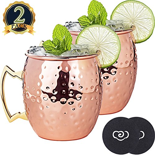 LIVEHITOP Moscow Mule Kupfer Becher Set of 2,18 Oz Kupferbecher with Untersetzer and Bier Flaschenöffner for Cocktail, Wein, Kaltes Getränk, Bar, Party, Geschenke (Pack of 2)