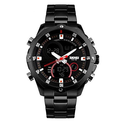 TTLIFE Cinturino dell'acciaio inossidabile dell'attività multifunzionale Nuovo Uomo orologio da polso impermeabile (Nero)