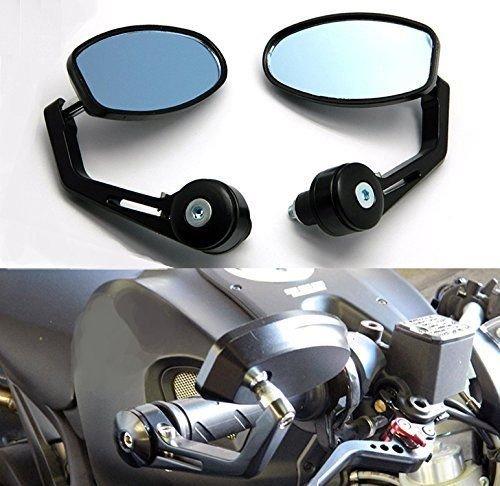 2X Universal Motorrad Spiegel Lenkerendenspiegel Lenkerspiegel Aluminium Schwarz