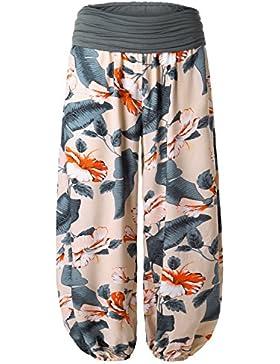 BAISHENGGT Mujer Pantalones Harem con Cintura Elastica Albaricoque N2 X-large
